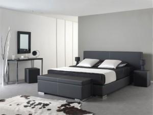 Profine waterbed: Boxster Hoofdbord: Domestic in kunstleder zwart met witte zadelnaden Accessoires: Bedkoffer en Kwadrant nachttafel